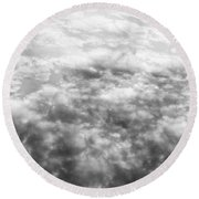 Monochrome Clouds Round Beach Towel