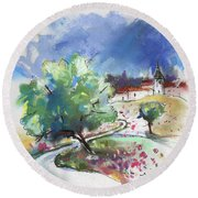 Monpazier In France 04 Round Beach Towel