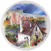 Monpazier In France 05 Round Beach Towel