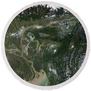 Monsoon Floods Round Beach Towel by NASA / Science Source