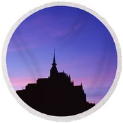 Mont St. Michel At Sunset Round Beach Towel