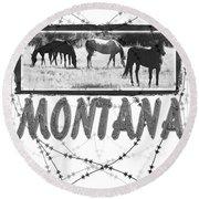 Montana Horse Design Round Beach Towel