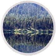 Montana Lake Reflection Round Beach Towel