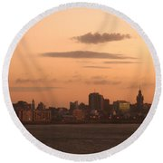 Montevideo Skyline At Sunrise Round Beach Towel