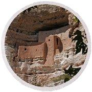 Montezuma Castle Cliff Dwellings In The Verde Valley Of Arizona Round Beach Towel