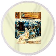 Montreal Cafe City Scenes Prince Arthur And Duluth Street Round Beach Towel