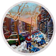 Montreal Hockey Paintings Round Beach Towel