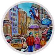 Montreal Street Scenes In Winter Round Beach Towel by Carole Spandau