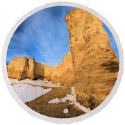 Monument Rocks In Kansas Round Beach Towel