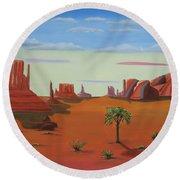 Monument Valley Lone Tree Round Beach Towel