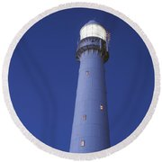 Moon Above Lighthouse At Dusk Round Beach Towel