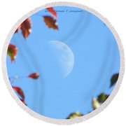 Moon Amidst Red Leaves Round Beach Towel