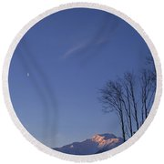Moon And Alpenglow Round Beach Towel