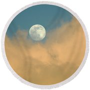 Moon And Cloud  Round Beach Towel