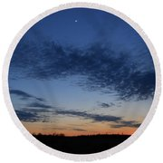 Moon And Clouds At Dusk Round Beach Towel
