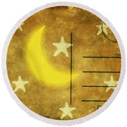 Moon And Star Postcard Round Beach Towel