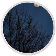 Moon And Trees Round Beach Towel