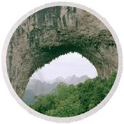 Moon Hill In Guangxi In China Round Beach Towel