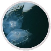 Moon Jelly Ripples Round Beach Towel