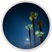 Moon Light And Palm Trees Round Beach Towel