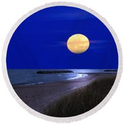 Moon On The Beach Round Beach Towel