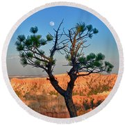 Moon Over Bryce Canyon Round Beach Towel