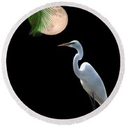 Moon Over Florida Round Beach Towel