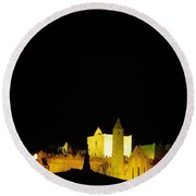 Moon Over Rock Of Cashel, Co Tipperary Round Beach Towel