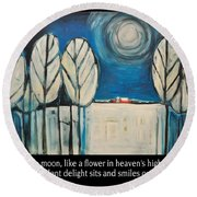 Moon Quote Poster Round Beach Towel