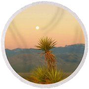 Moon Sets As Sun Rises Round Beach Towel
