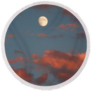 Moon Sunset Vertical Image Round Beach Towel
