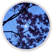 Moon Through Dogwood Round Beach Towel