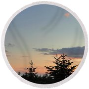 Moon Watching The Sunset In Acadia Round Beach Towel