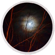 Moonlight By The Camp Fire Round Beach Towel