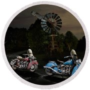 Moonlight Indian Chief Round Beach Towel