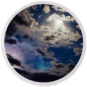 Moonlit Clouds With A Splash Of Lightning Round Beach Towel
