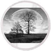 Moonlit Silhouette Round Beach Towel