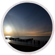 Moonrise At The Beach Round Beach Towel by Cale Best