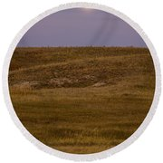 Moonrise Over Badlands South Dakota Round Beach Towel