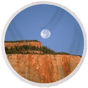 Moonrise Over East Temple - Zion  Round Beach Towel