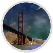 Moonrise Over The Golden Gate Round Beach Towel