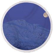 Moonset At Dawn Round Beach Towel