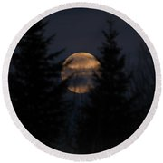Moonset In The Spruce Bog Round Beach Towel