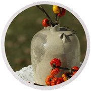 Moonshine Jug And Pumpkin On A Stick Round Beach Towel