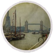 Moored Thames Barges. Round Beach Towel