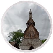 Moorhead Stave Church 2 Round Beach Towel