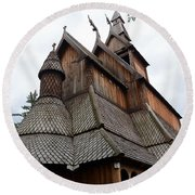 Moorhead Stave Church 8 Round Beach Towel