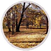 More Fall Trees Round Beach Towel