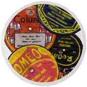 More Old Record Labels  Round Beach Towel
