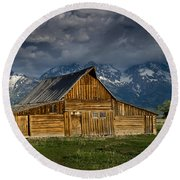 Mormon Barn Under Approaching Storm Round Beach Towel